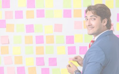 Product Backlog Items Are Invitations to Conversations - Businessman Adding Sticky Notes to Wall Photo